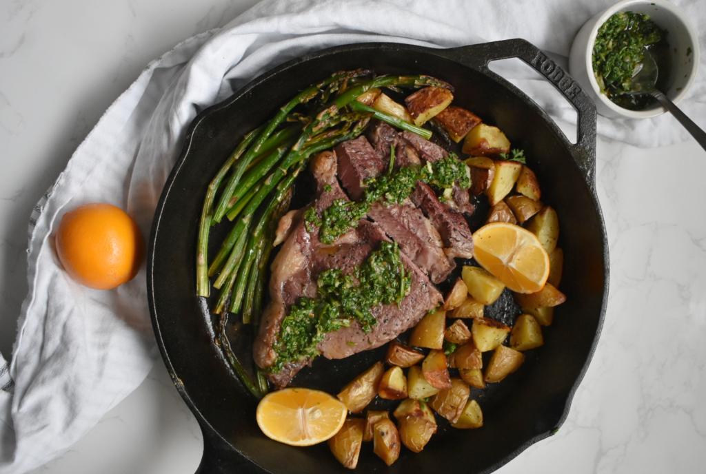 One-Pan Steak, Potato, Asparagus Dinner + Chimichurri - Feed The Soul
